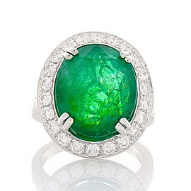 PGS Certified 9.50 Carat Oval Emerald and Diamond Cocktail Ring in 18 Karat Gold