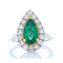 1.90 Carat Pear Shape Emerald And Diamond Two Tone Cocktail Ring In 18 K Gold
