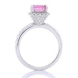 2.24 Carat Cushion Cut Pink Sapphire and Diamond Cocktail Ring in 18 Karat Gold