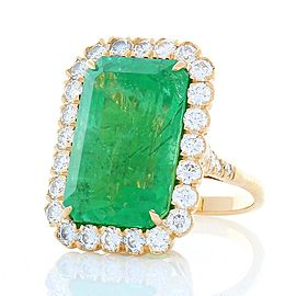 GIA Certified 16.28 Carat Octagon Cut Emerald and Diamond Cocktail Ring