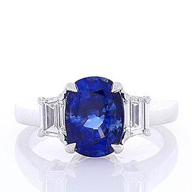 3.06 Carat Cushion Cut Blue Sapphire and Diamond Cocktail Ring in 18 Karat Gold