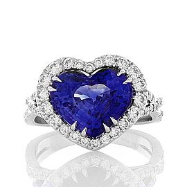 6.30 Carat Heart Shaped Blue Sapphire and Diamond Cocktail Ring in Platinum