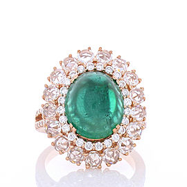 4.50 Carat Oval Cabochon Emerald and Diamond Cocktail Ring in 18 Karat Gold