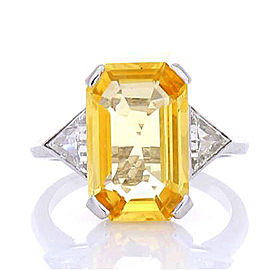 5.20 Carat Emerald Cut Yellow Sapphire and Diamond Cocktail Ring in Platinum