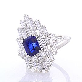 EG Lab Certified 2.62 Carat Emerald Cut Blue Sapphire and Diamond Cocktail Ring