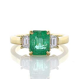 2.14 Carat Emerald Cut Emerald and Diamond Cocktail Ring in 18 Karat Gold
