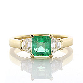 1.37 Carat Emerald Cut Emerald and Diamond Cocktail Ring in 18 Karat Yellow Gold