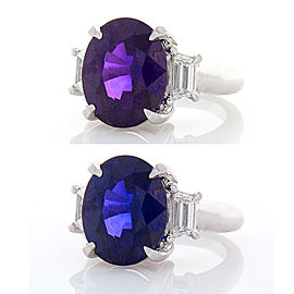 GIA Certified 10.26 Carat Oval Violetish Purple Sapphire & Diamond Cocktail Ring