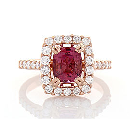 2.20 Carat Cushion Cut Pink Sapphire and Diamond Cocktail Ring in 18 Karat Gold