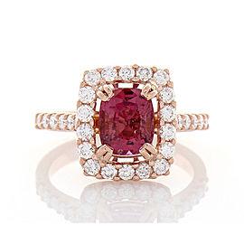 2.20 Carat Cushion Cut Pink Sapphire and Diamond Cocktail Ring in 18 Karat Gold