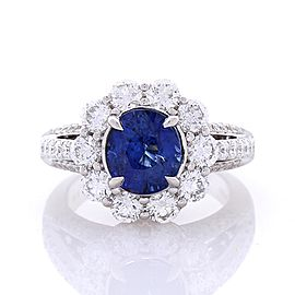 EGL Certified 3.08 Carat Oval Blue Sapphire & Diamond Cocktail Ring In 18K Gold