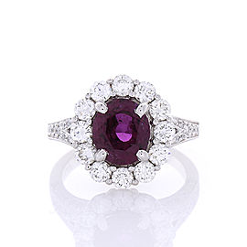 2.97 Carat Oval Purple Sapphire and Diamond Cocktail Ring in 18 Karat White Gold