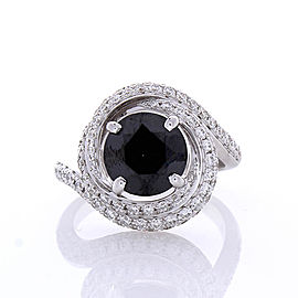 2.92 Carat Black Diamond and White Diamond Cocktail Ring in 18 Karat White Gold