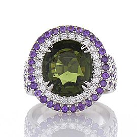 5.22 Carat Oval Tourmaline with Amethyst and Diamond Cocktail Ring in White Gold