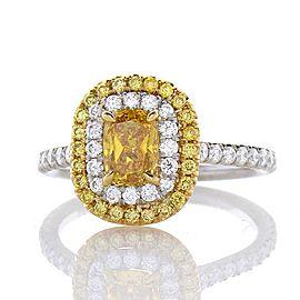 GIA Certified 0.70 Carat Cushion Cut Fancy Vivid Yellow Diamond Cocktail Ring
