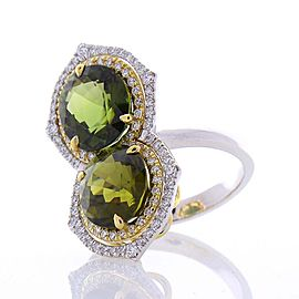 8.03 Carat Oval Green Tourmaline & Diamond Cocktail Two Tone Ring In 18K Gold
