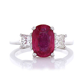 PGS Certified 3.02 Carat Cushion Cut Ruby & Diamond Cocktail Ring In 18K Gold