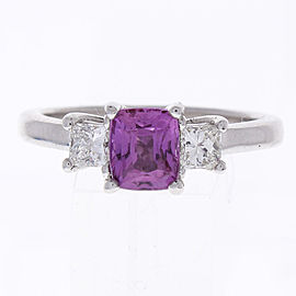 1.09 Carat Cushion Cut PInk Sapphire & Diamond Cocktail Ring In 18K White Gold