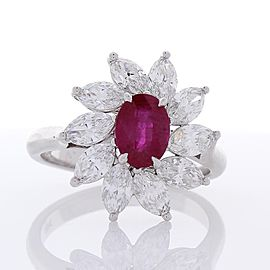 1.26 Carat Oval Ruby and Marquise Diamond Cocktail Ring in 18 Karat White Gold