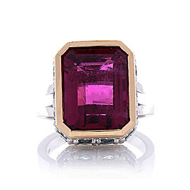 12.22 Carat Emerald Cut Rubelite and Diamond Cocktail Two Tone Ring in 18 Karat