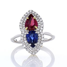 2.30 Carat Total Pear shaped Ruby & Blue Sapphire Diamond Cocktail ring In 18K