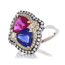5.72 Carat Total Ruby & Blue Sapphire Cocktail Diamond Two Tone Ring In 18K Gold