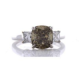 GIA Certified 3.00 Carat Cushion Cut Fancy Brown Diamond Cocktail Ring