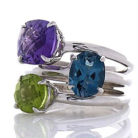 4.80 Carat Total Amethyst, Peridot, Blue Topaz Cocktail Ring in 14 Karat Gold