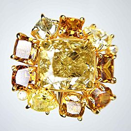 GIA Certified 6.52 Carat Fancy Brownish Yellow Cushion Cut Diamond Cocktail Ring