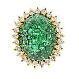 24.55 Carat Hand Craved Cabochon Emerald and Diamond Cocktail Ring in 18 K Gold