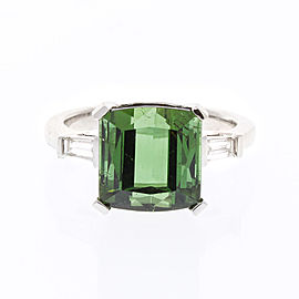 7.28 Carat Square Tourmaline and Diamond Cocktail Ring in 18 Karat White Gold