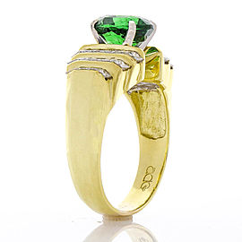 3.08 Carat Oval Tsavorite and Diamond Cocktail Ring in 18 Karat Yellow Gold