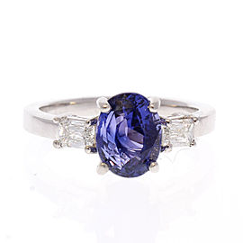2.55 Carat Oval Sapphire & Baguette Diamond Cocktail Ring in 18 Karat White Gold