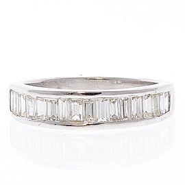 0.98 Carat Total Baguette Diamond Ring in 14 Karat White Gold