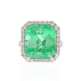 PGS Certified 13.06 Carat Colombian Emerald Cut Emerald and Diamond 18K Ring