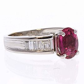 1.72 Carat Oval Rubellite and Diamond Cocktail Ring in 14 Karat White Gold