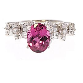 14KWG RUBELLITE & DIA RING, OV RUBELLITE 1.80CT DIA 0.95CTW 33STNS - RD BR & T.BAG