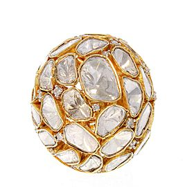 5.15 Carat Total Polki Diamond Dome Ring in 18 Karat Yellow Gold