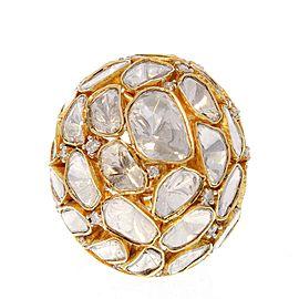 5.15 Carat Total Polki Diamond Dome Ring in 18 Karat Yellow Gold