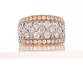 2.20 Carat Total Diamond Two-Tone Band in 18 Karat Gold