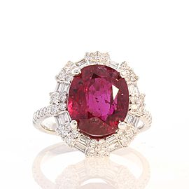 5.89 Carat Oval Ruby and Diamond Cocktail Ring in 18 Karat White Gold