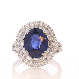 GIA Certified 3.86 Carat Oval Blue Sapphire and Diamond Ring in 18 Karat Gold