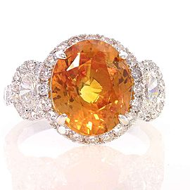EGL Sri Lanka Certified 6.60 Carat Oval Orange Sapphire & Diamond Cocktail Ring