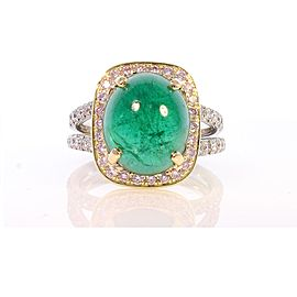 5.90 Carat Cabochon Emerald and Diamond Two-Tone Cocktail Ring in 18 Karat Gold