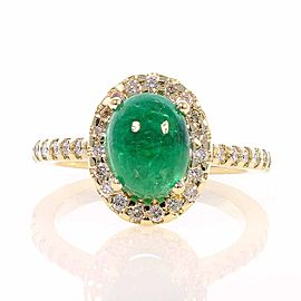 2.31 Carat Cabochon Emerald and Diamond Cocktail Ring in 18 Karat Yellow Gold