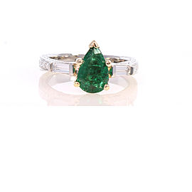 1.04 Carat Pear Shape Green Emerald and Diamond Cocktail Ring in 18 Karat Gold