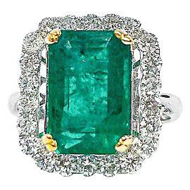 4.84 Carat Emerald Cut Emerald and Diamond Cocktail Ring in 18 Karat Gold