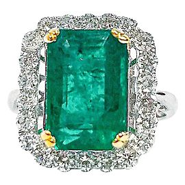 4.84 Carat Emerald Cut Emerald and Diamond Cocktail Ring in 18 Karat Gold