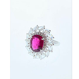 3.17 Carat Oval Rubelite and Diamond Cocktail Ring in 18 Karat White Gold