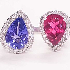 5.75 Carat Total Pear Shape Tanzanite, Rubelite and Diamond Cocktail Ring in 18k